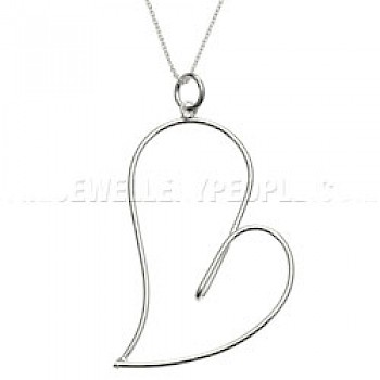 Funny Heart Silver Pendant - Large
