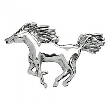Galloping Horse Silver Brooch - 45mm