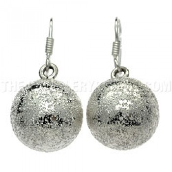 Glitter Bell Silver Earrings - 15mm Wide