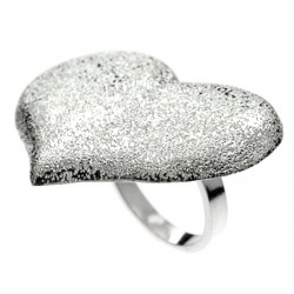 Glitter Finish Large Silver Heart Ring