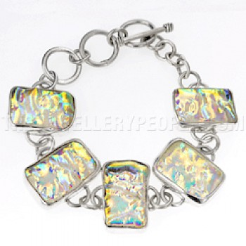 Gold Dichroic Glow-Glass & Silver Shapes Bracelet