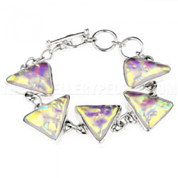 Gold Dichroic Glow-Glass & Silver Triangles Bracelet