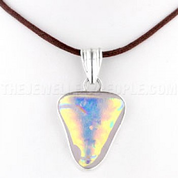 Gold Dichroic Glow-Glass & Silver Triangular Pendant