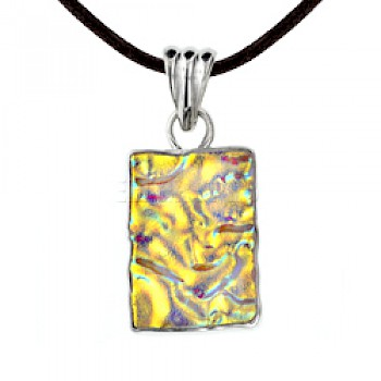 Gold Dichroic Glow-Glass Silver Rectangle Pendant - 50mm