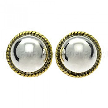 Gold Fancy Dome Silver Clip-On Earrings - 19mm