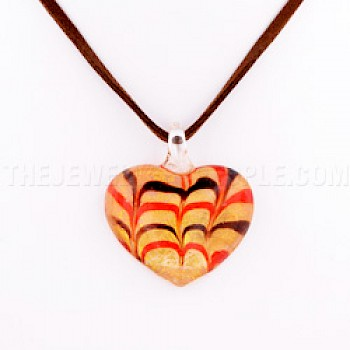 Gold Heart Dichroic Glass Pendant