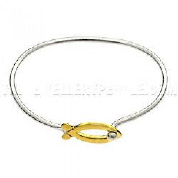 Gold Ichthus Fish Catch Silver Bangle