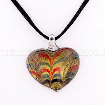 Gold Multi Heart Dichroic Glass Pendant