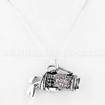 Golf Clubs Silver Pendant