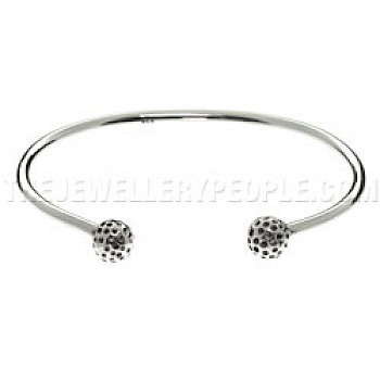 Golf Magnetic Silver Torque Bangle - 3mm