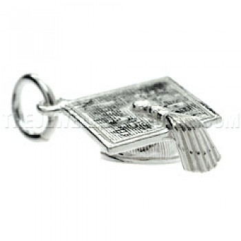 Graduation Mortar-Board Silver Charm