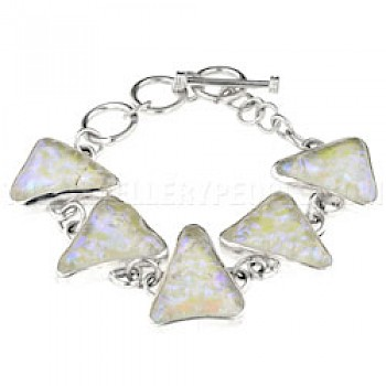 Green & Purple Dichroic Glow-Glass & Silver Triangles Bracelet