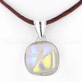 Green & Yellow Dichroic Glow-Glass & Silver Window Pendant