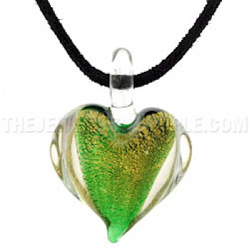 Green Glass Heart Pendant