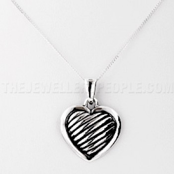 Grooved Silver Heart Pendant