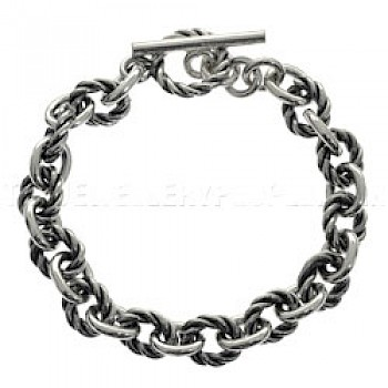 Half Twisted & Oxidised Silver Chain Bracelet