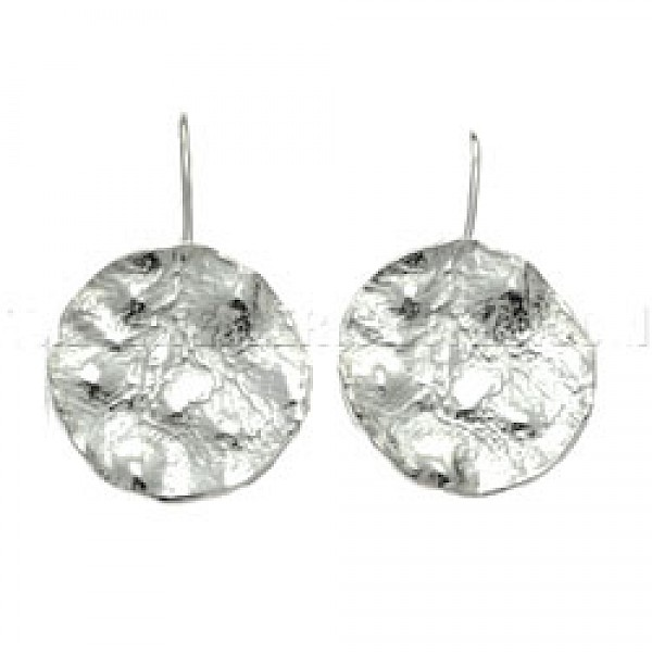 Hammered & Melted Silver Disc Earrings