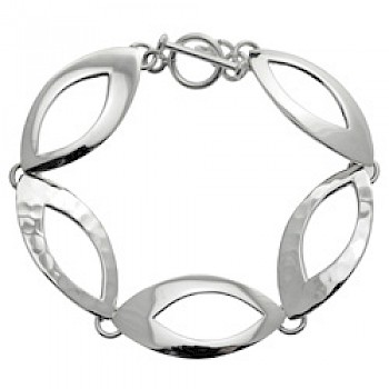 Hammered & Polished Pointed Ovals Silver Bracelet