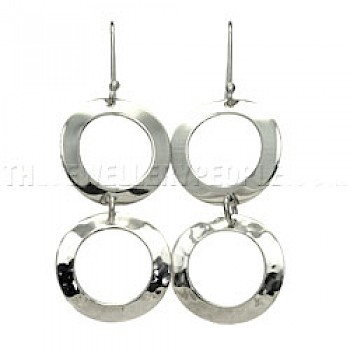 Hammered & Polished Rings Silver Earrings - 55mm Long