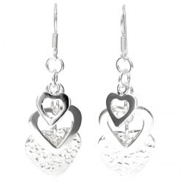 Hammered & Polished Triple Heart Silver Earrings - 57mm Long