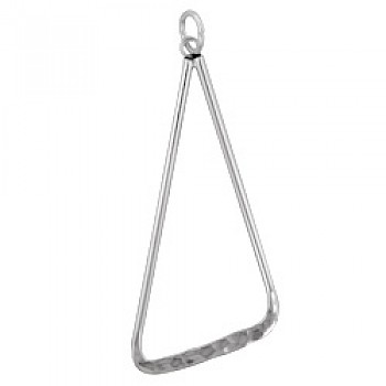 Hammered Angled Triangle Silver Pendant