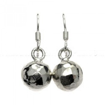 Hammered Bauble Silver Earrings - 10mm