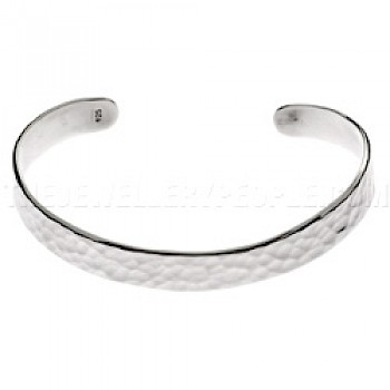 Hammered Cuff Silver Bangle-Petite