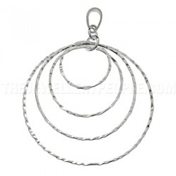 Hammered Circles Silver Pendant