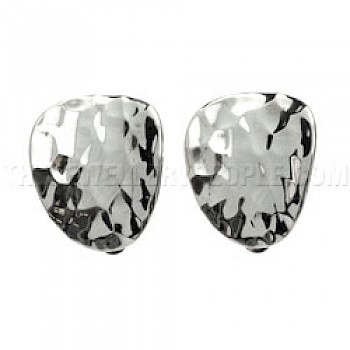 Hammered Concave Clip On Earrings - 17mm