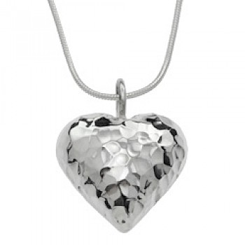Hammered Deep Heart Silver Pendant