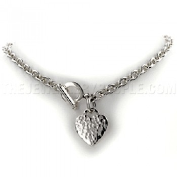 Heart Charm Hammered Silver Necklace