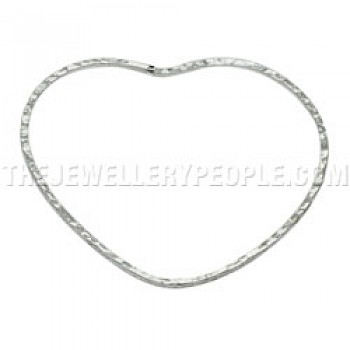 Hammered Heart Shape Silver Bangle - 2mm Solid