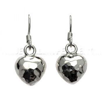 Hammered Heart Silver Earrings - 12mm