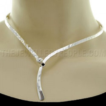 Hammered Hook Wrap Silver Collar - 4mm Solid