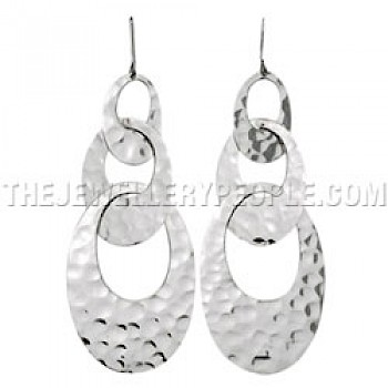 Hammered Linked Ovals Silver Earrings