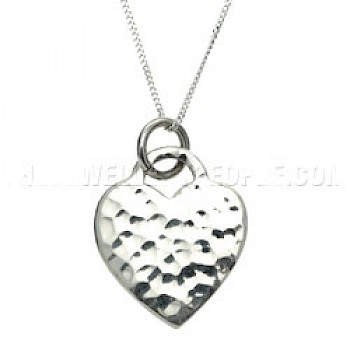 Hammered Lock Heart Silver Pendant - 25mm
