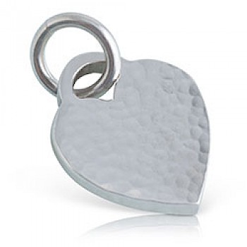 Hammered Lock Heart Silver Pendant - 20mm