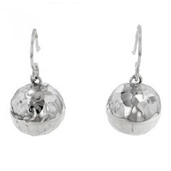 Hammered Silver Ball Drop Earrings - 14mm Wide