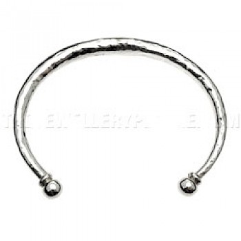 Hammered Torque Silver Bangle - Small