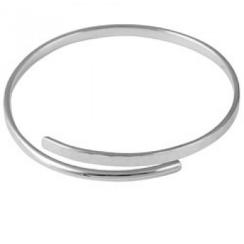 Hammered Silver Open Crossover Bangle - 5mm Solid
