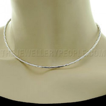 Hammered Tube Silver Collar - 3mm