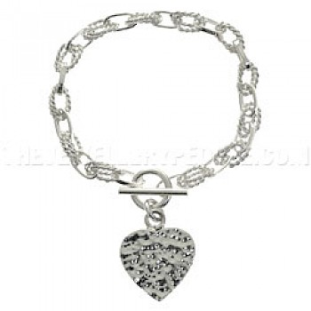 Heart & Twist Oval Links Silver Bracelet