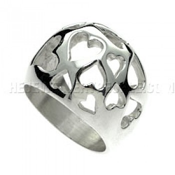 Heart Bubble Silver Ring