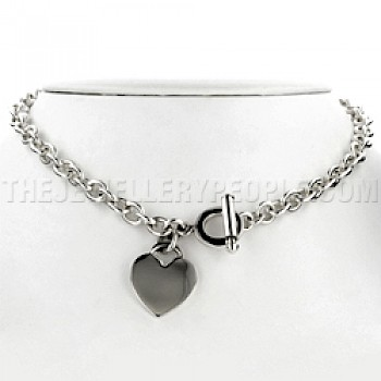 Heart Charm Oval Chain Silver Necklace