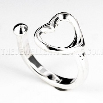 Heart Cut Out Shaped Silver Ring