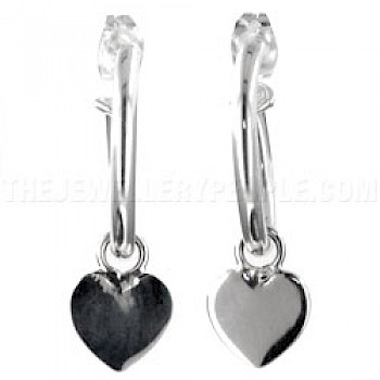 Hearts & Hoops Silver Earrings - 32mm Long