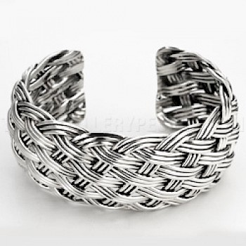 Heavy Woven Silver Cuff Bangle - 28mm Wide