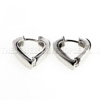Hinged Heart Silver Earrings