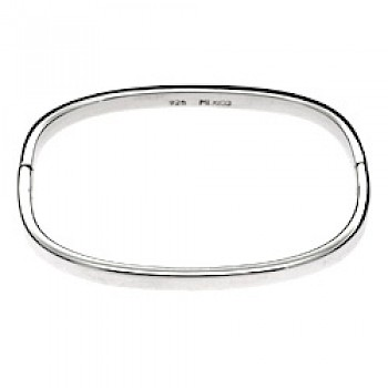 Hinged Oval Silver Bangle - Small Size