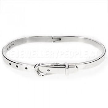 Hinged Oval Silver Buckle Bangle - 3mm Solid